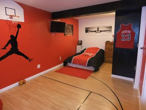 20 sporty bedroom ideas with basketball theme interior for High school bedroom designs