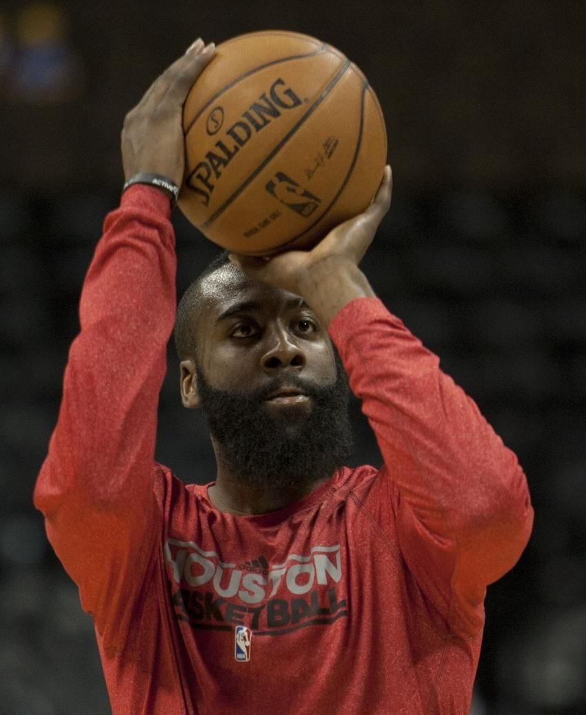 Houston Rockets Vs Denver Nuggets: Houston Rockets Guard James Harden Warms Up Before A Game