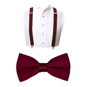Burgundy 4 Clips SUSPENDERS and BOW TIE COMBO Matching SET Adjustable