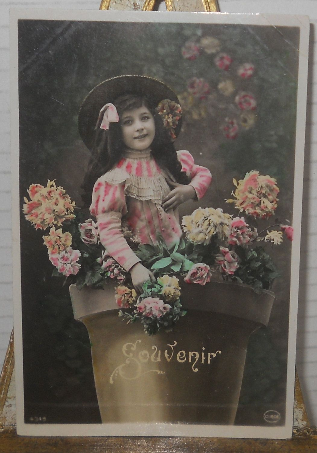 Real Photo Color Tinted Fantasy PostcardGirl in Flower