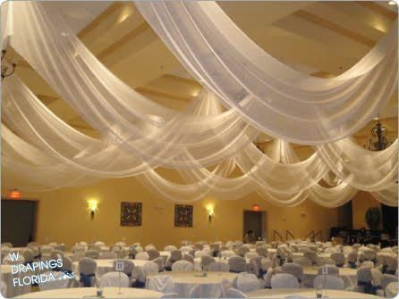 Ceiling Draping With Sheer Fabric Can Transform Any Reception Area Into An Elegant Venue Wedding Ceiling Ceiling Draping Ceiling Draping Wedding