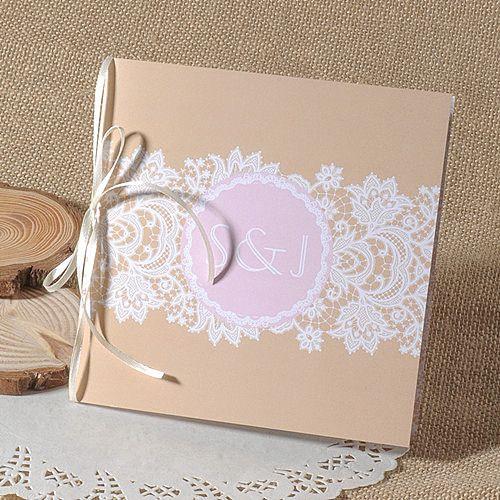 Klassisch Spitze Und Foto Einladungskarte P OPL030 Herbst 2014 Hochzeit  Farbe Trends