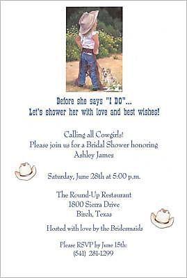 Western Cowgirl Bridal ShowerBachelorette Invitations Western