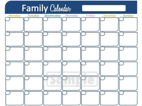 Family Calendar Printable  Monthly Calendar  Household Binder