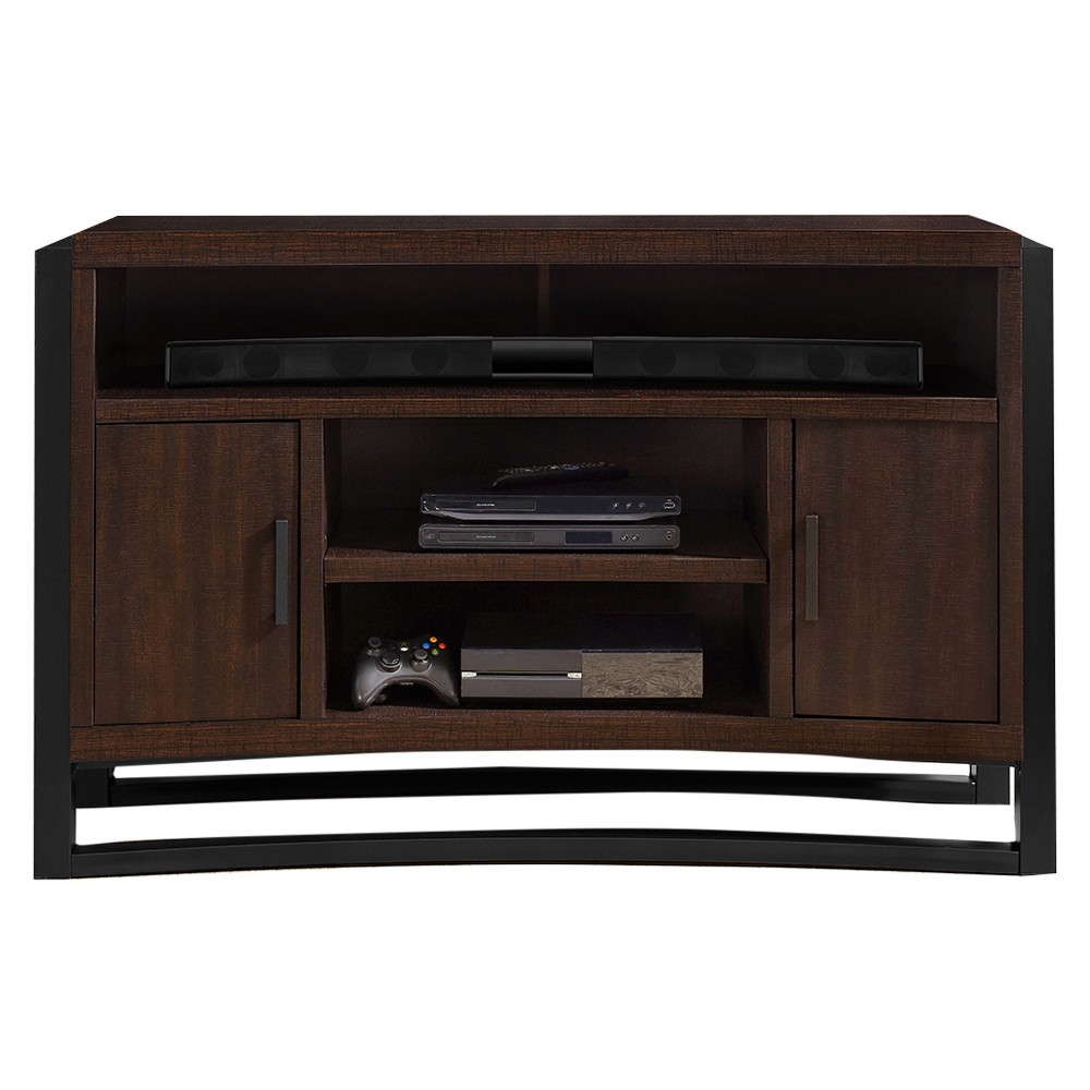 Curved Wood 30 Tv Stand With Storage Brown Oak Finish Home