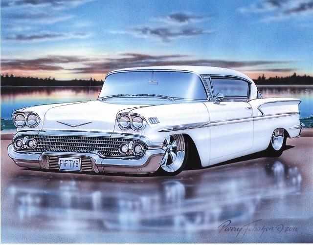 1958 Chevy Impala 2 Door Hardtop Classic Car Art Print 11×14 Poster
