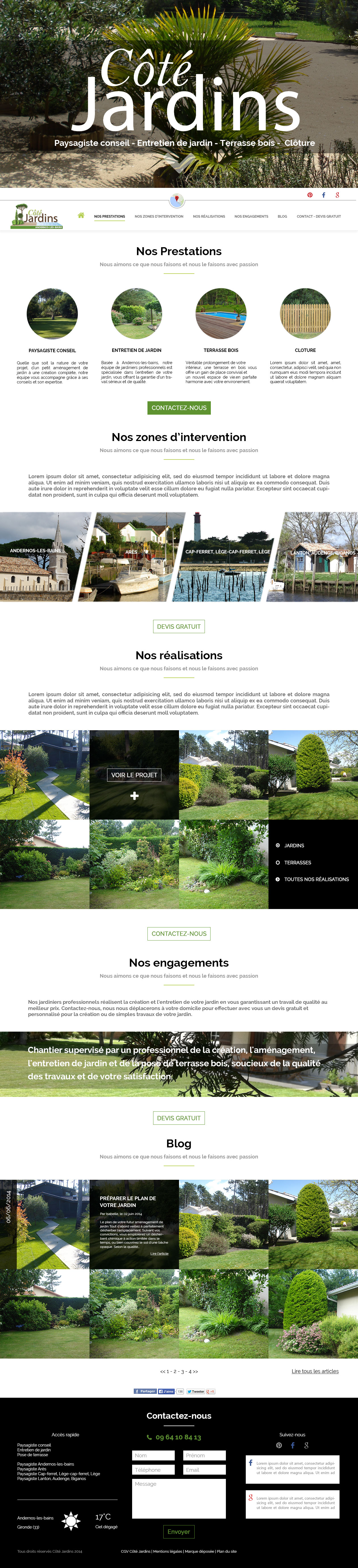 Webdesign De La Page D Accueil Cote Jardins Paysagiste Jardins Page D Accueil