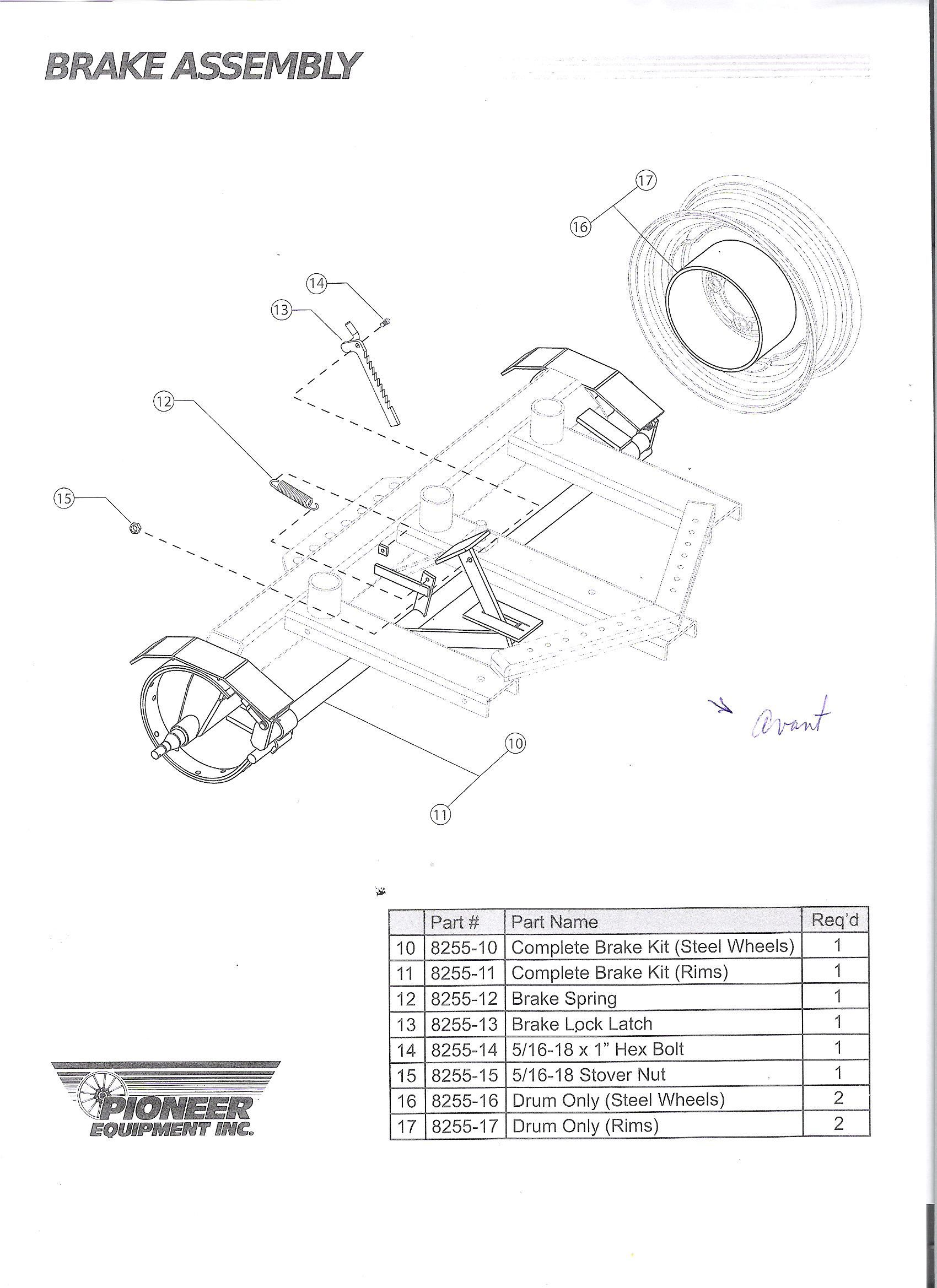 Bought Pioneer Mechanical Brake Kit For Rear Axle Along