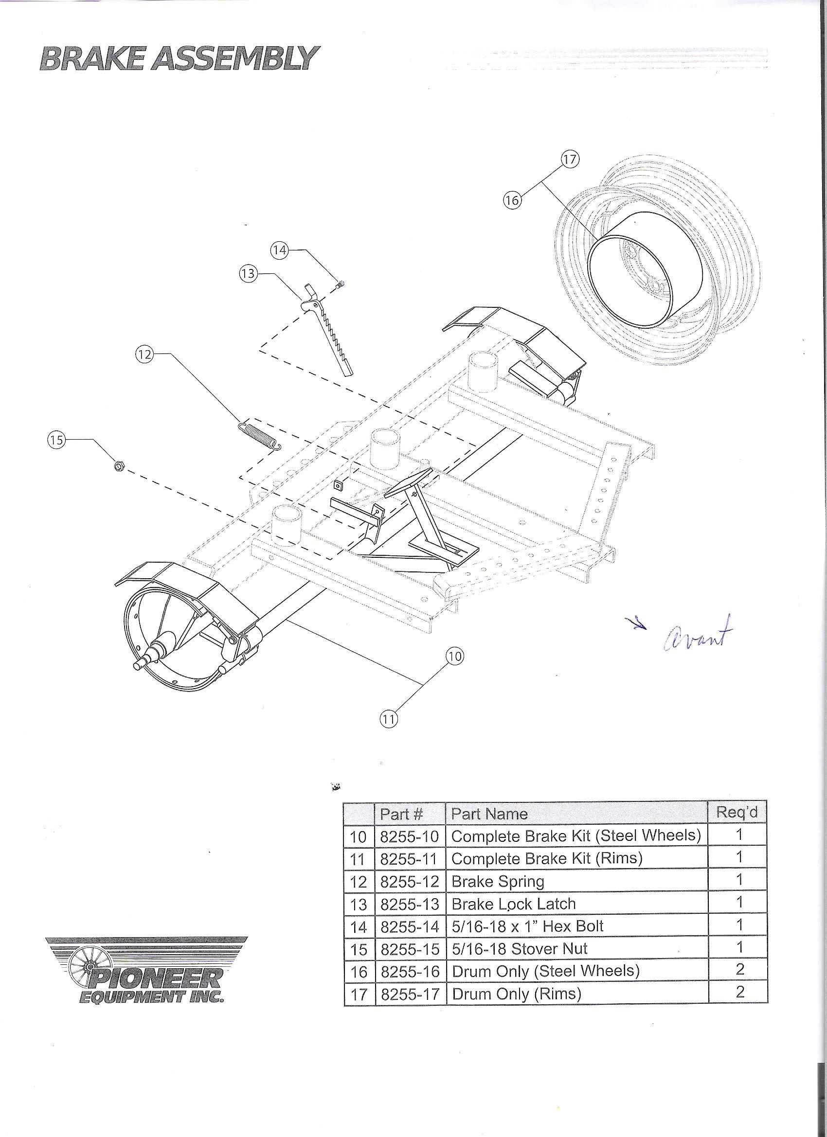 Bought Pioneer Mechanical Brake Kit For Rear Axle Along
