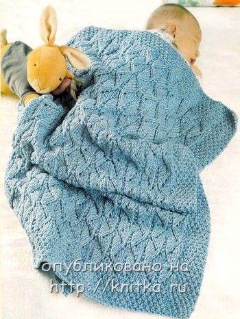Вязаное одеяло для малыша спицами