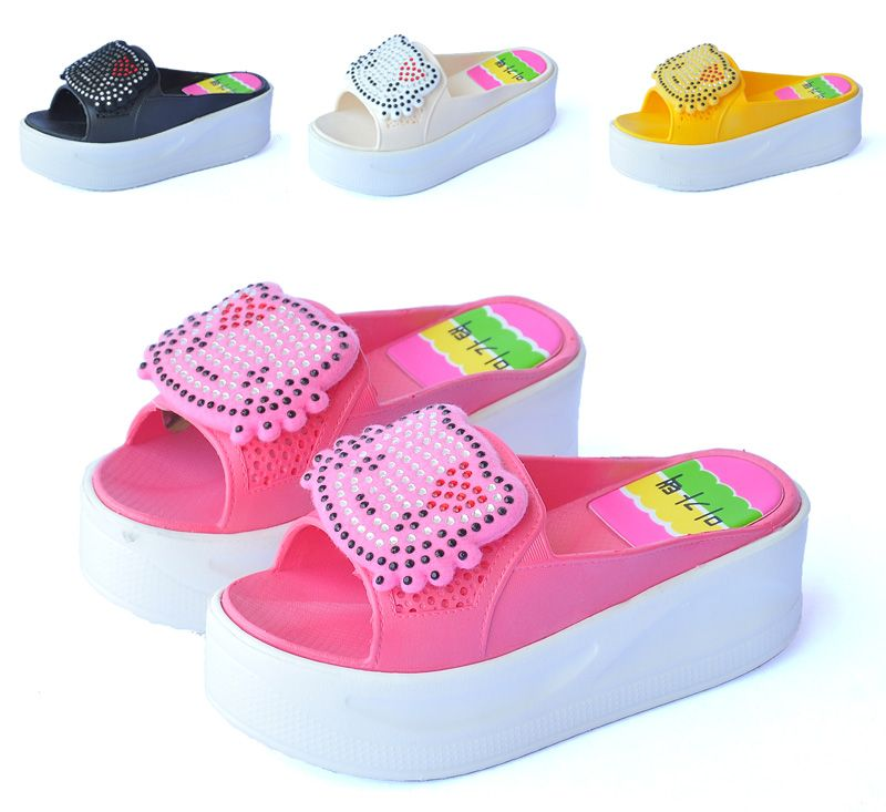 b0d0bc775 hello kitty wedges for women | HELLO KITTY rhinestone pasted wedges  slippers platform sandals .