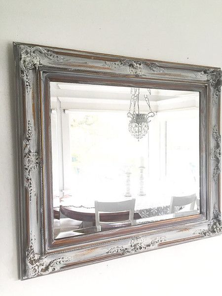 French Ornate WALL MIRROR Antique Wood Gold With White Bathroom Mirror Farmhouse Style