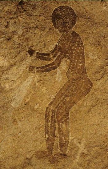 Cave painting, circa  8000-4000 BC, Tassili n Ajjer, Algeria, North Africa.