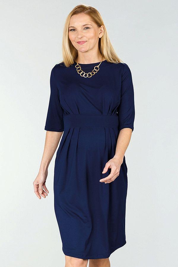 5860cbf6db4 Tmavě modré letní těhotenské šaty s tříčtvrtečním rukávem