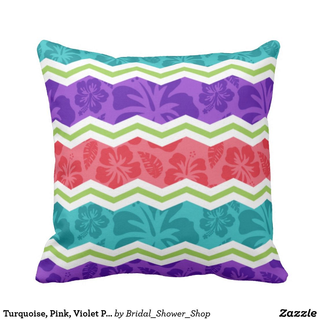 Turquoise pink violet purple and green tropical throw pillow