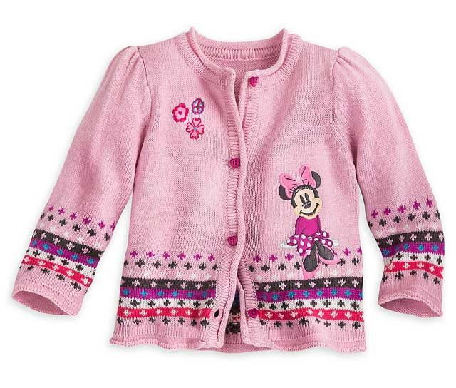 Disney Store Minnie Mouse Knitted Pink Cardigan Sweater Baby Girl