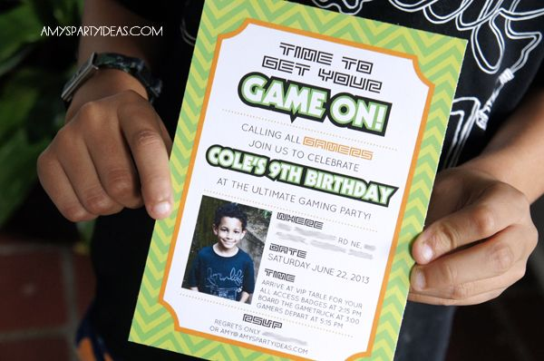 Game On An Ulitmate Gaming Party Real Parties Amys Party - Video game birthday invitation template