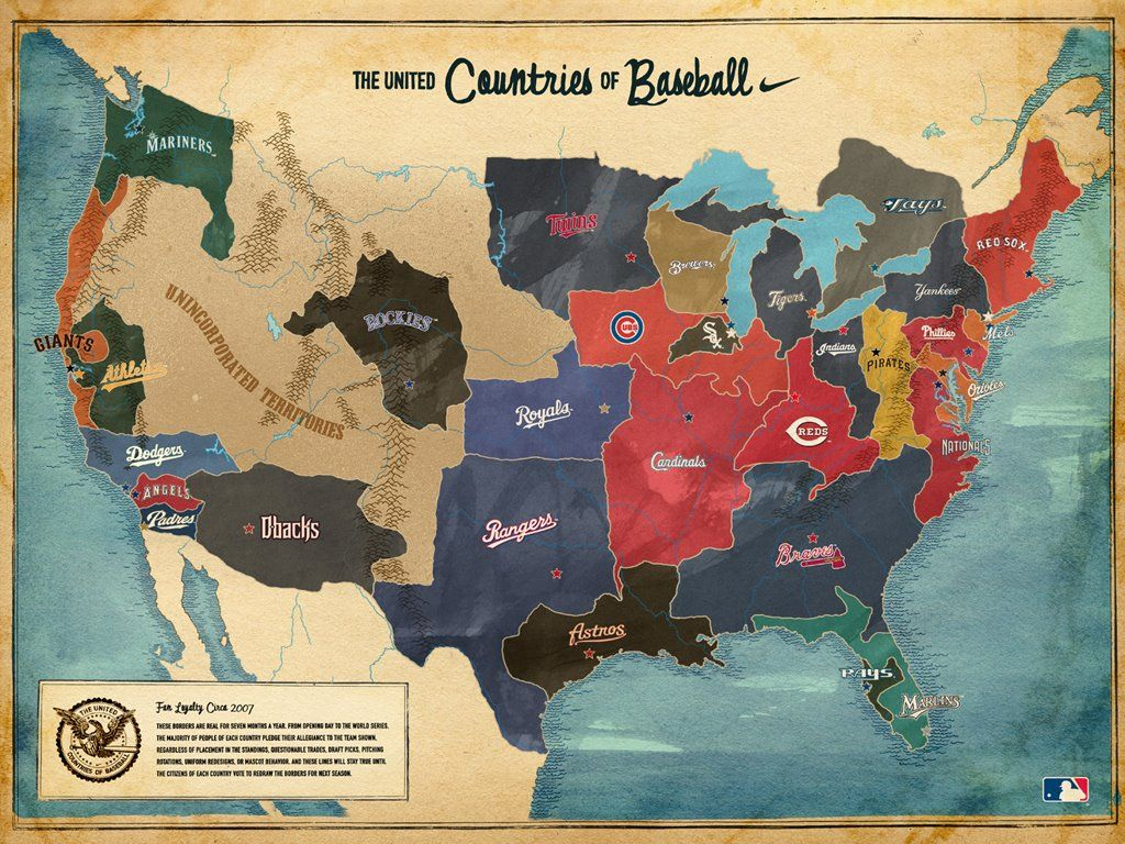 Map Of Major League Baseball Fans Via Thelandofmaps Baseball Wallpaper Baseball Season Baseball Fan