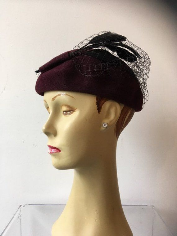 a01603bfe 1950s maroon hat, hat with feathers, vintage 50s hat, georgie hat ...