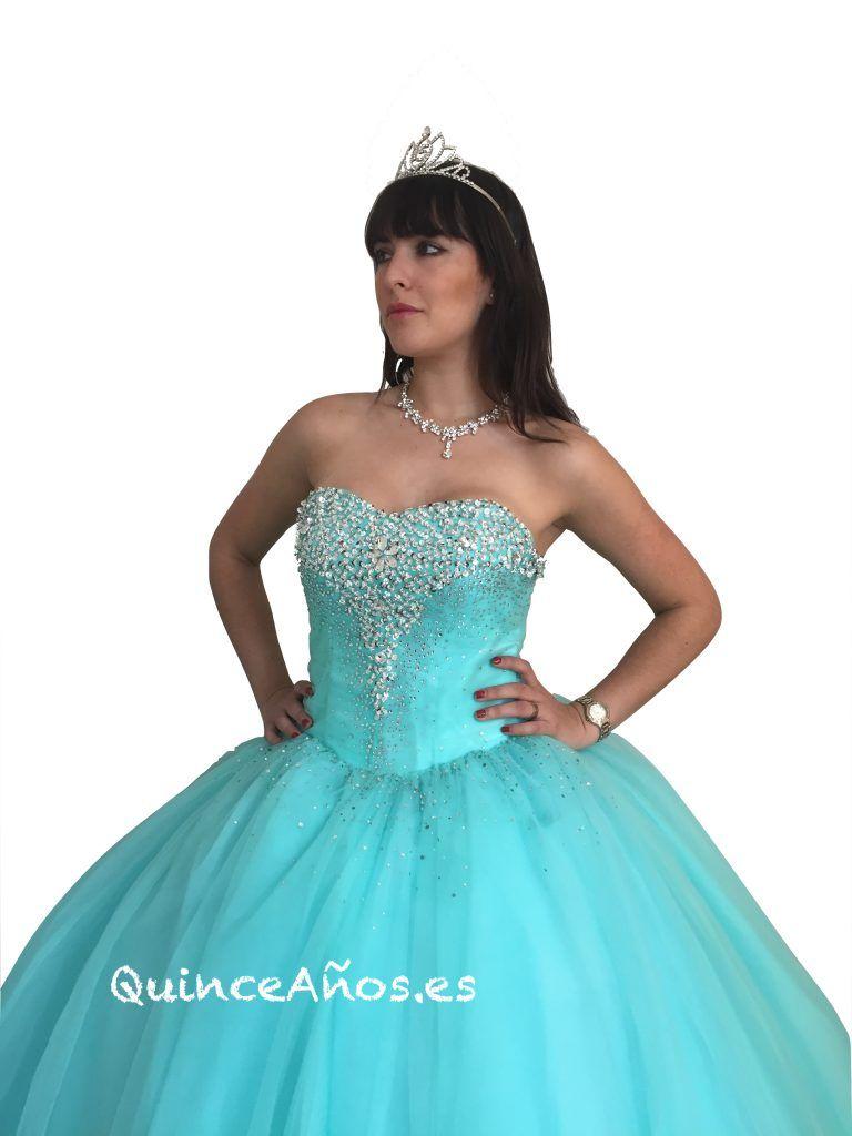 4667e448850d Vestido largo palabra de honor con Pedrería Azul Cielo | Quinceañera ...