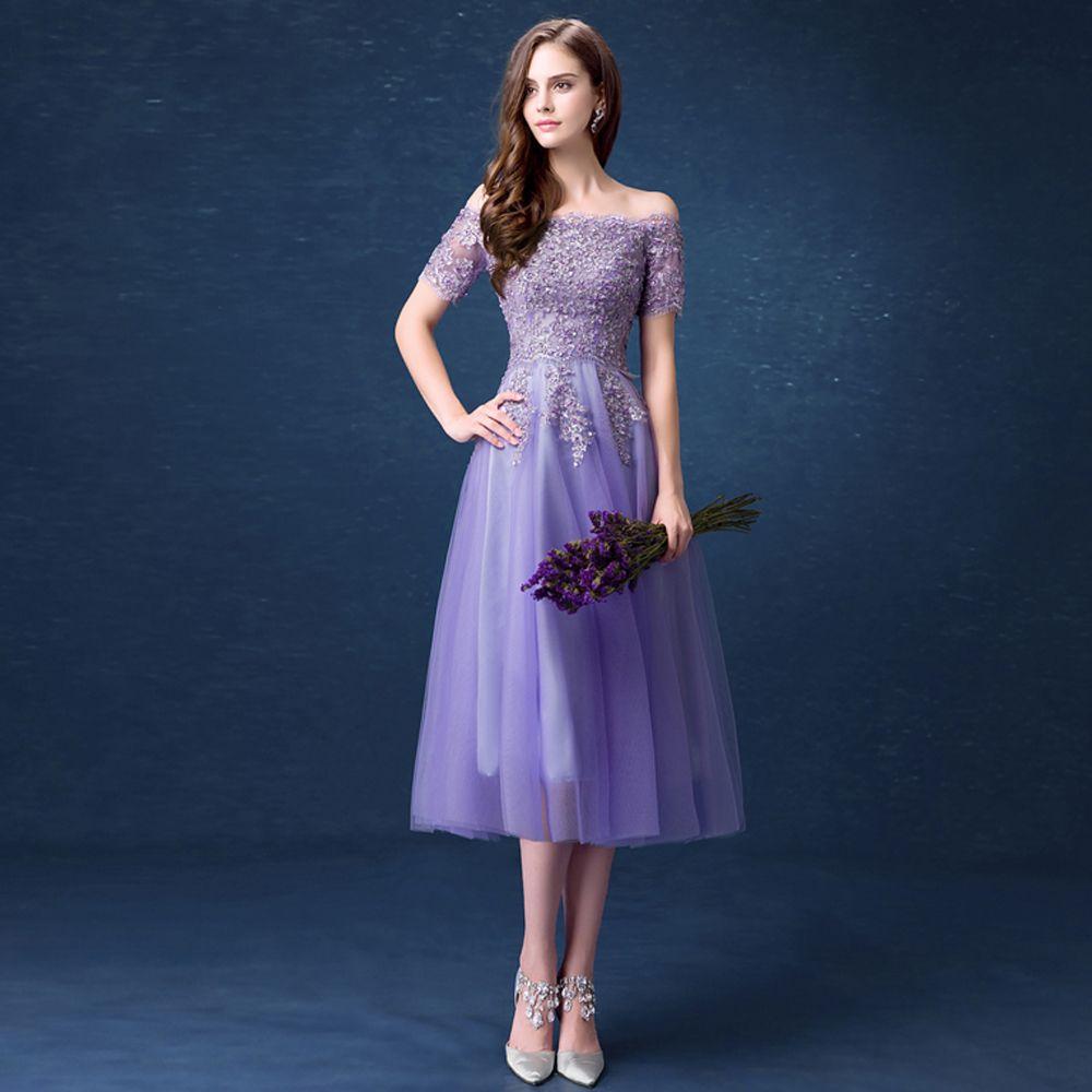 Tea length purple organza lace off the shoulder aline prom dress