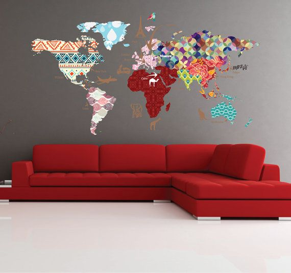 Cultural world map decal pattern map wall decal clear vinyl decal cultural world map decal pattern map wall decal clear vinyl decal nursery room decals world map gumiabroncs Images