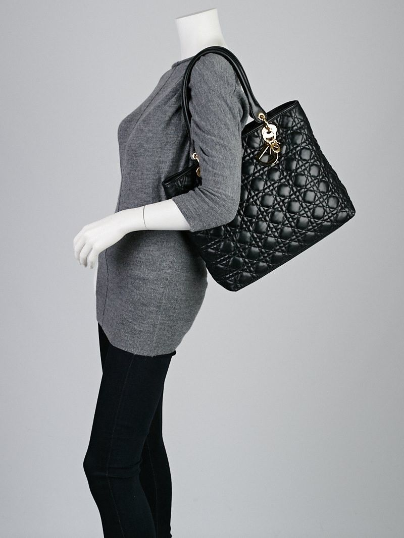 751b2b723996 Christian Dior Black Quilted Cannage Leather Large Lady Dior Tote Bag -  Designers - 11095387