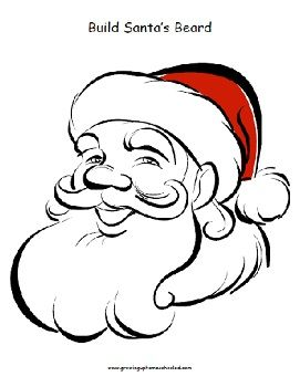 Build Santas Beard(To use with marshmallows, Do A Dots, or stickers)