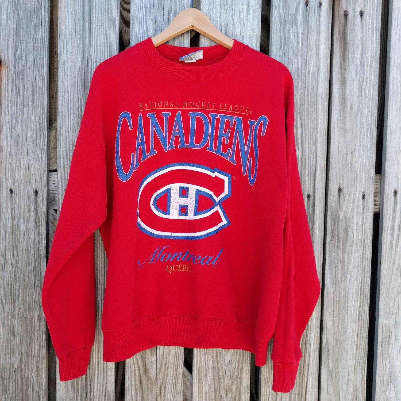Vtg Montreal Canadiens Hockey Sweatshirt - National Hockey League - USA Made by LEE - SZ L - Nutmeg by TomieHarleneVintage on Etsy