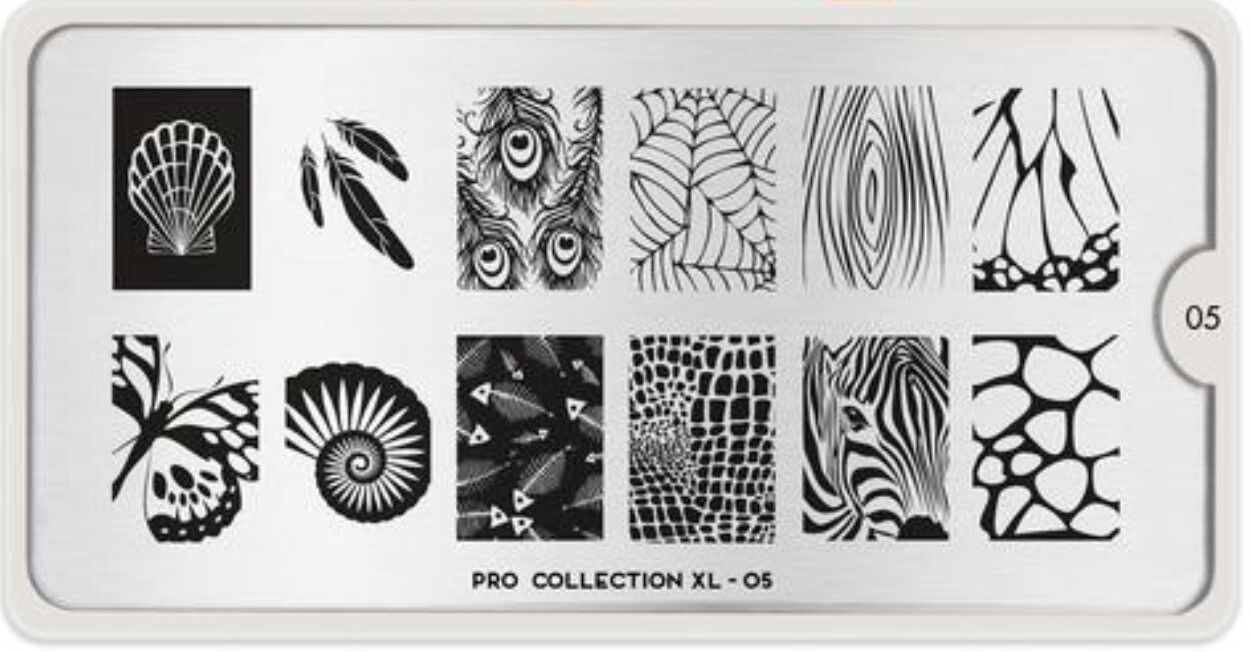 Moyou London Pro XL 05 clam shell feathers peacock spiderweb woodgrain butterfly wing nautilus fish skeleton alligator crocodile snake skin zebra face giraffe nail stamping plate