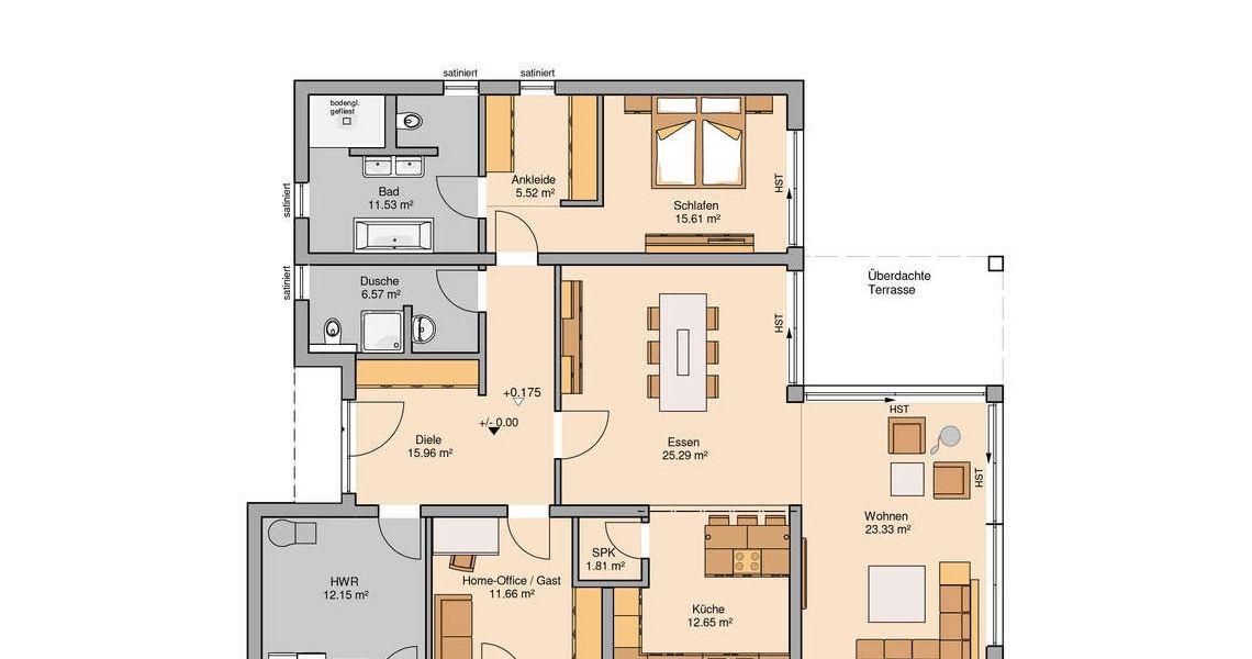Massivhaus grundriss  Massivhaus Grundriss Kern-Haus Bungalow Select | Haus | Pinterest ...