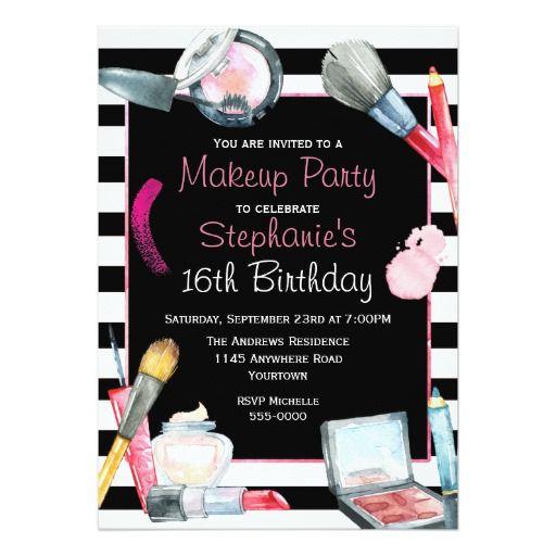 Makeup birthday party invitation makeup birthday party invitations makeup birthday party invitation stopboris Image collections