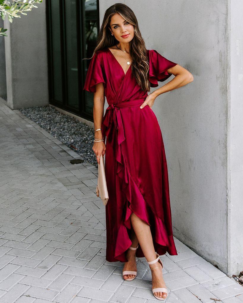 Sugarcoat Satin High Low Ruffle Maxi Dress Burgundy Ruffled Maxi Dress Red Dress Maxi Long Sleeve Flowy Dresses [ 1024 x 819 Pixel ]