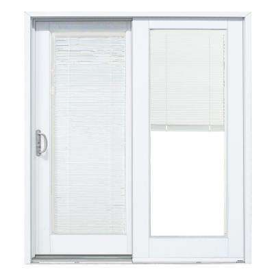 Composite White Left Hand Smooth Interior With Low E Blinds Between Glass Dp 50 Sliding P Vinyl Sliding Patio Door French Doors Interior Sliding Doors Interior