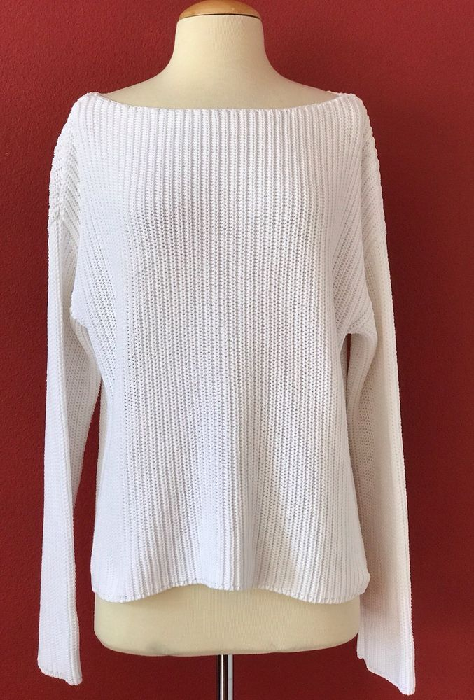 VINCE White Boxy Cotton Chunky Knit Sweater Size M | Cotton