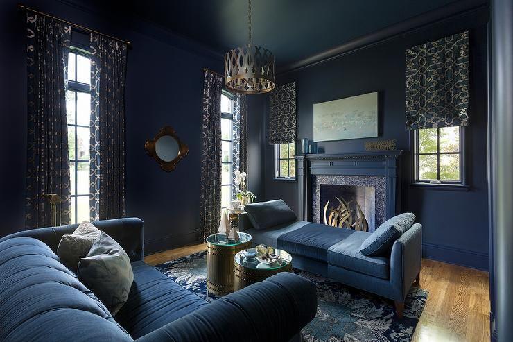 Harper Howey Interiors Dramatic Dark Blue Living Room Is