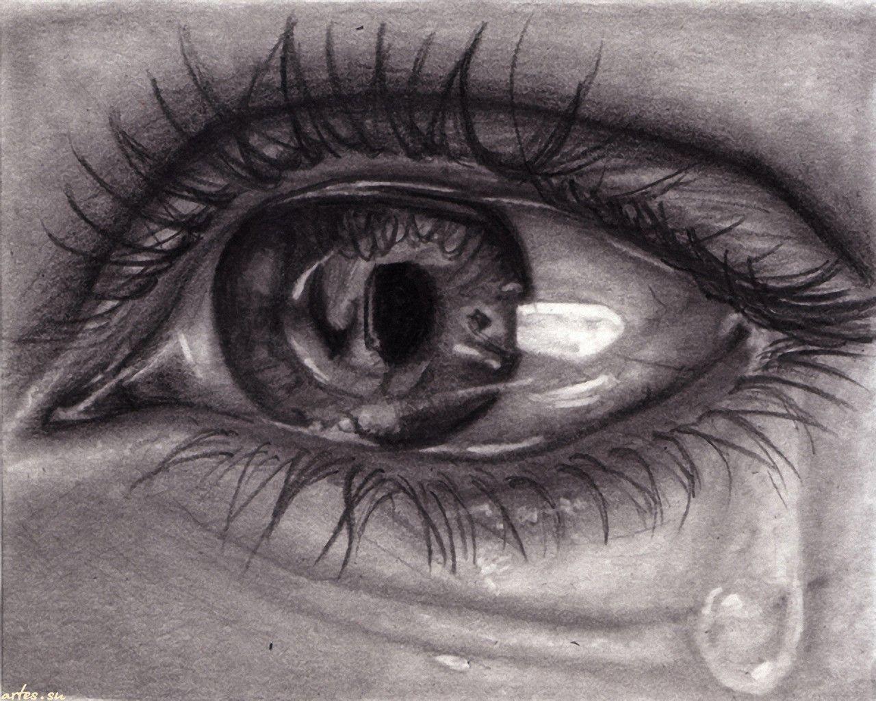 Drawing A Teardrop: Crying Eye Drawing, How