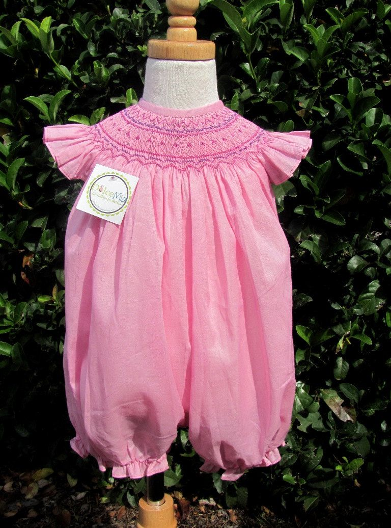 fc415c027fd Pink Smocked romper bubble for baby girl smocked by handsmocked