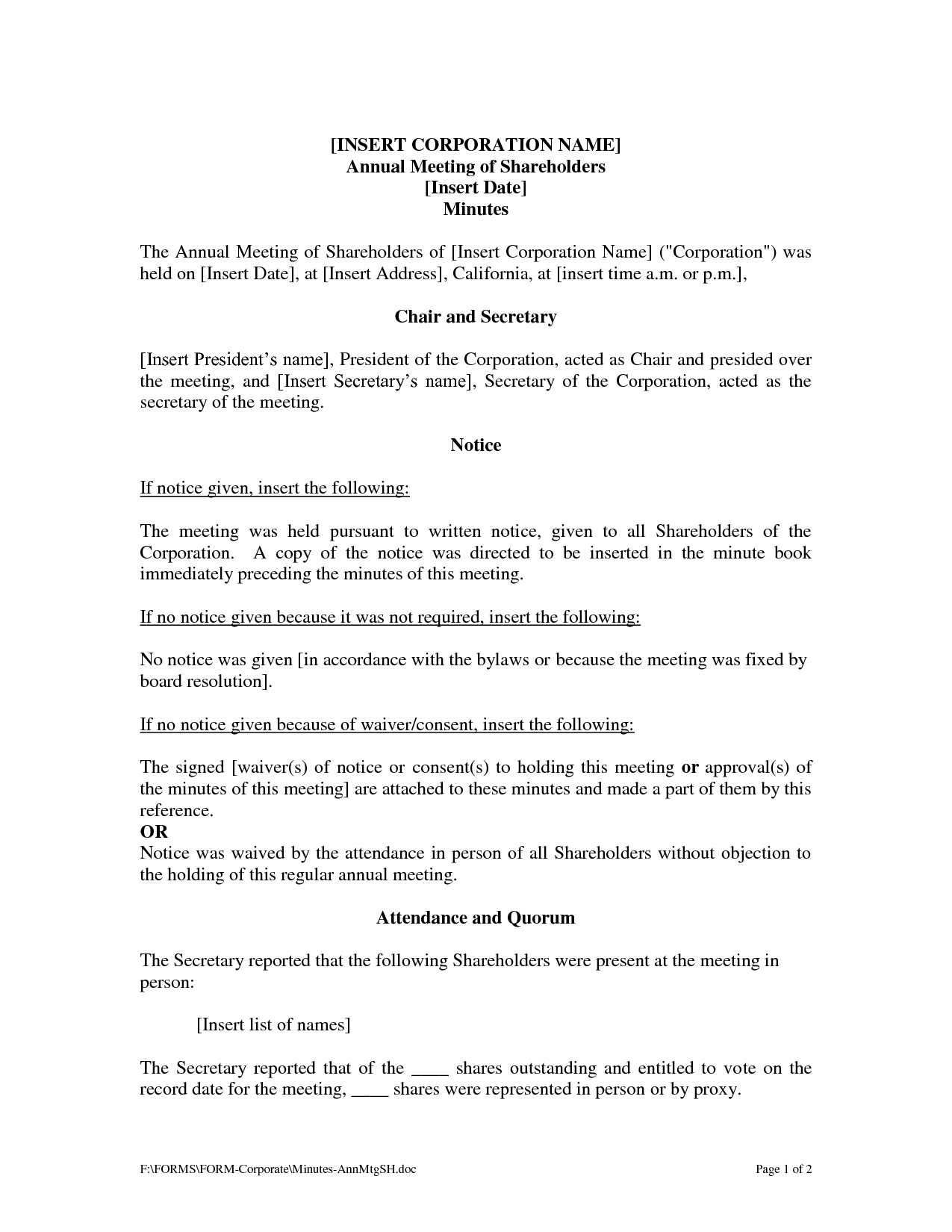 minutes of shareholders meeting template.html