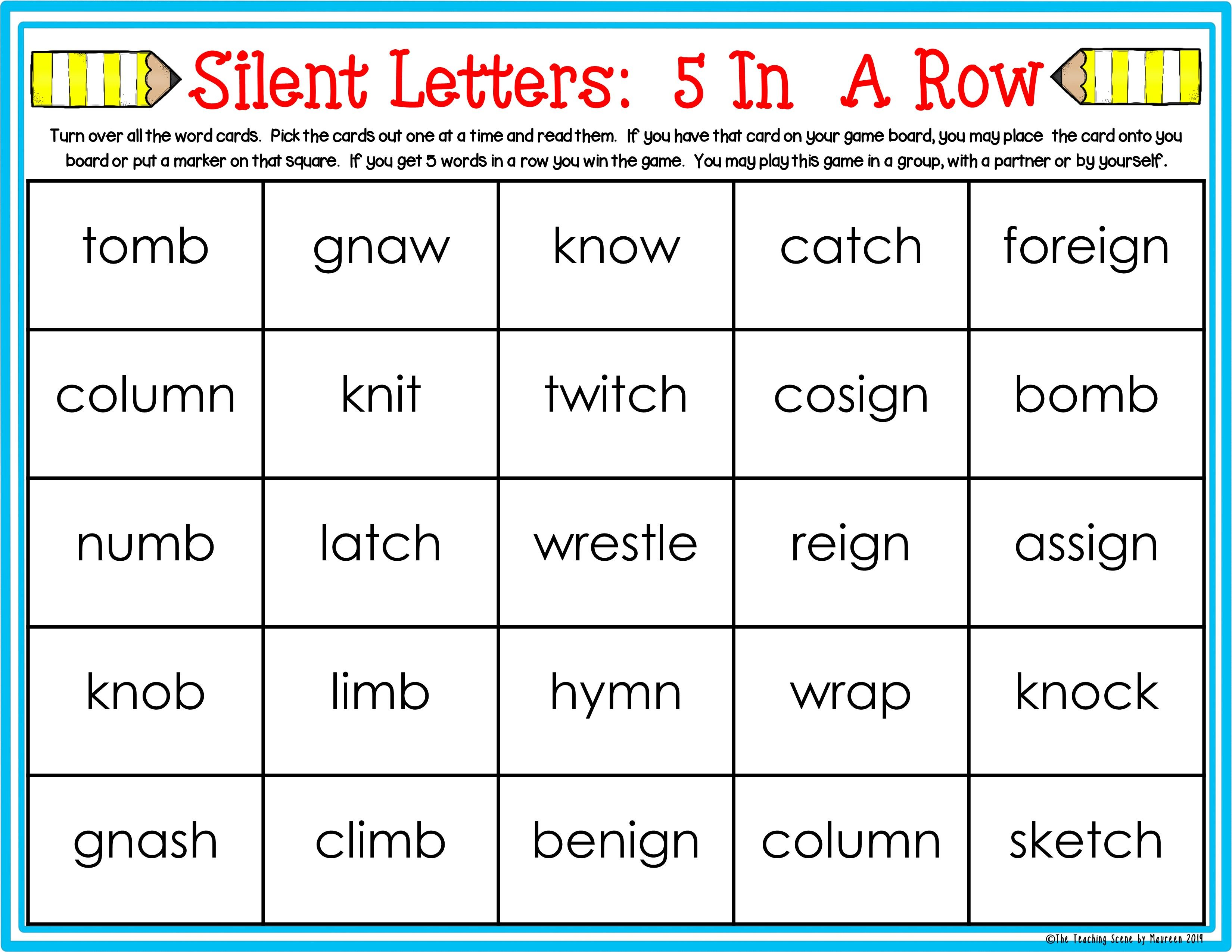 Silent Letter Centers Kn Wr Gn Gn Mn Mb Amp Tch