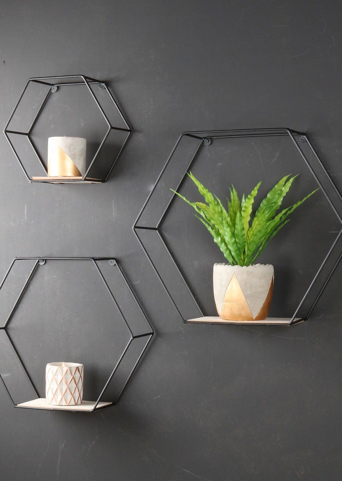 Set Of 3 Geometric Industrial Shelves Hexagonal Metal And Wood