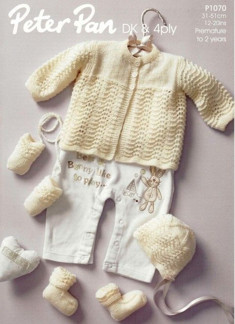 Peter Pan - 1070 - Matinee Coat, Bonnet, Mitts and Bootees (preemie ...