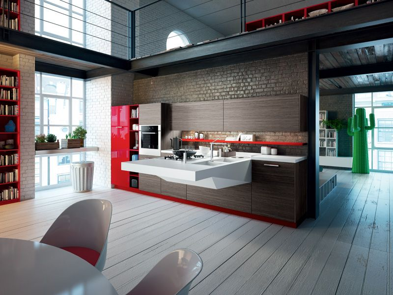 Cucina #kitchen Board featuring racing red high-gloss lacquered