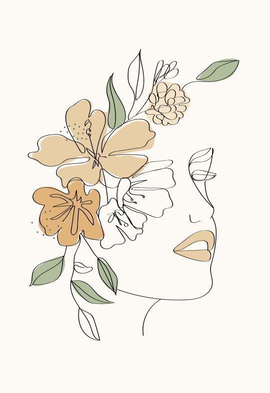 Moderne minimalistische Frau Gesicht einer Linie Kunst