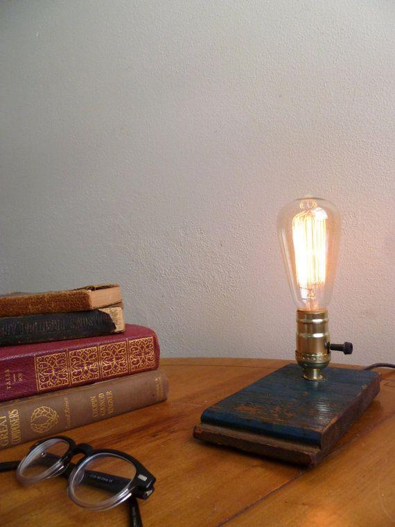 Barn Wood Desk Lamp Edison Lamp Mid Century Edison Lighting