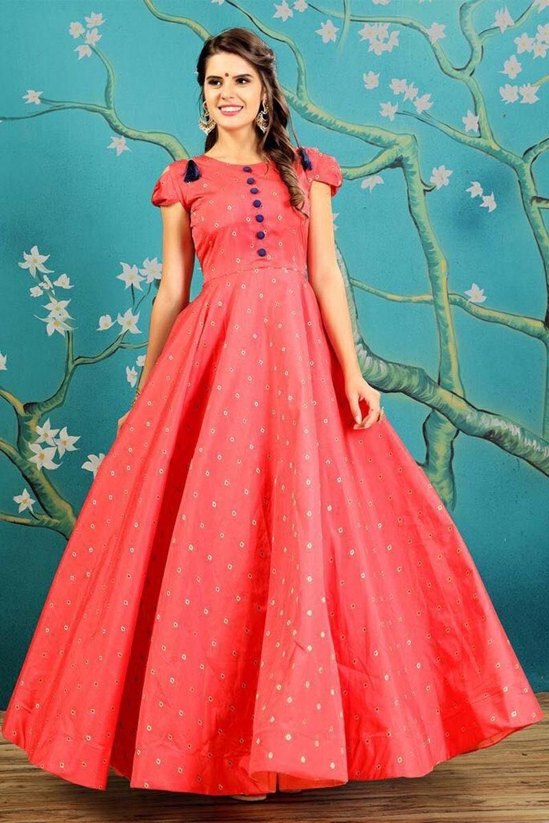 3c7499bd9 Fancy Party Wear Pink Color Jacquard And Silk Fabric Designer Digital Print  Embroidered Evening Gown