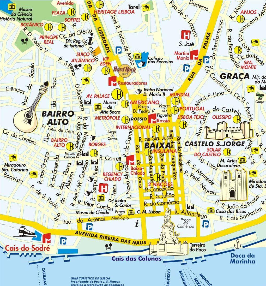 rua do alecrim lisboa mapa Mapa de Lisboa | Lisboa | Pinterest | Lisboa, Viagens e Europa rua do alecrim lisboa mapa