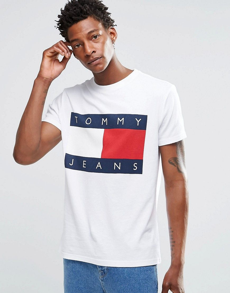 of hilfiger denim t shirt with tommy flag logo in white t shirts. Black Bedroom Furniture Sets. Home Design Ideas