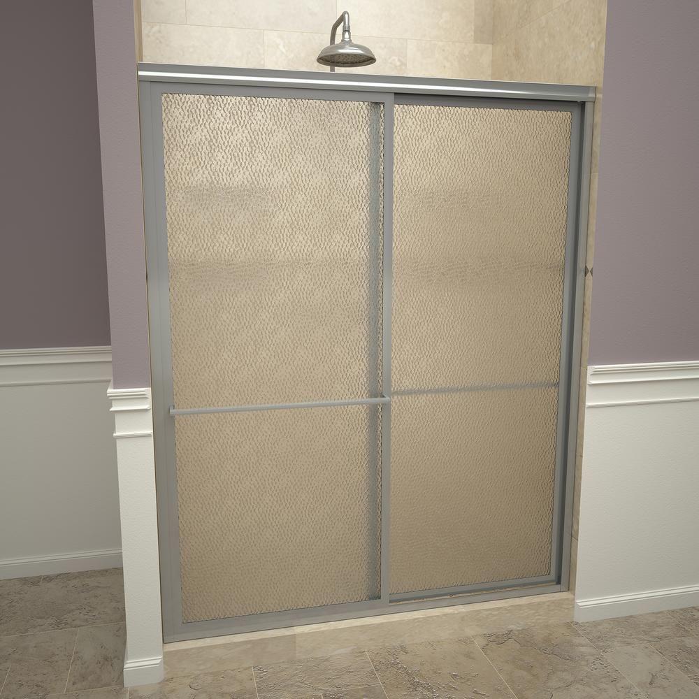 Redi Slide 1100 Series 47 In W X 71 1 2 In H Framed Sliding Shower Doors In Brushed Nickel With Towel Bars And Obscure Glass Framed Shower Door Shower Doors Glass Shower Enclosures