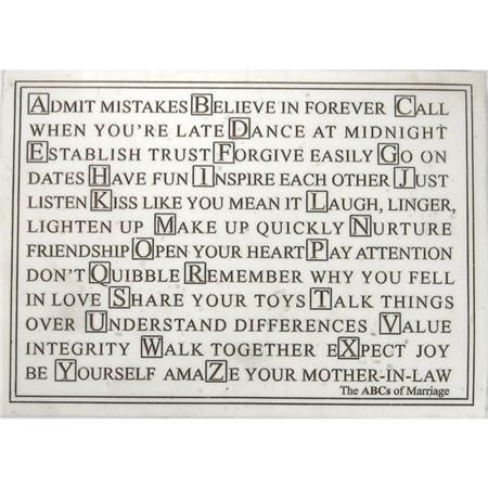 Abc S Of Marriage Inspirational Wall Plaque Goin To The